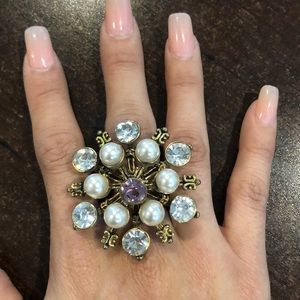 Gorgeous gold, pearl, purple diamond ring